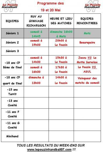 Hb07 programme des 19 et 20 mai