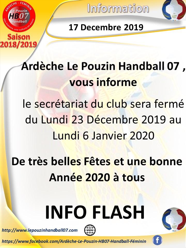 Info fermeture noel 2019