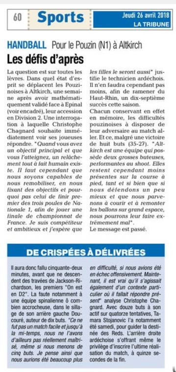 La tribune jeudi 26 avril 2