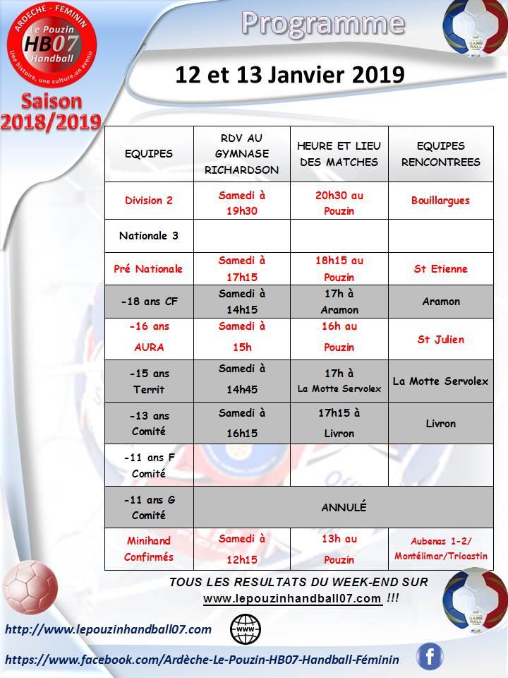 Programme 12 et 13 janvier 2019