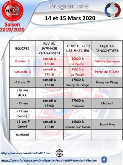 Programme 14 et 15 mars 2020