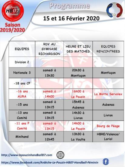 Programme 15 et 16 fevrier 2020