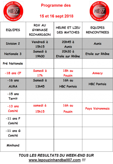 Programme 15 et 16 sept 18