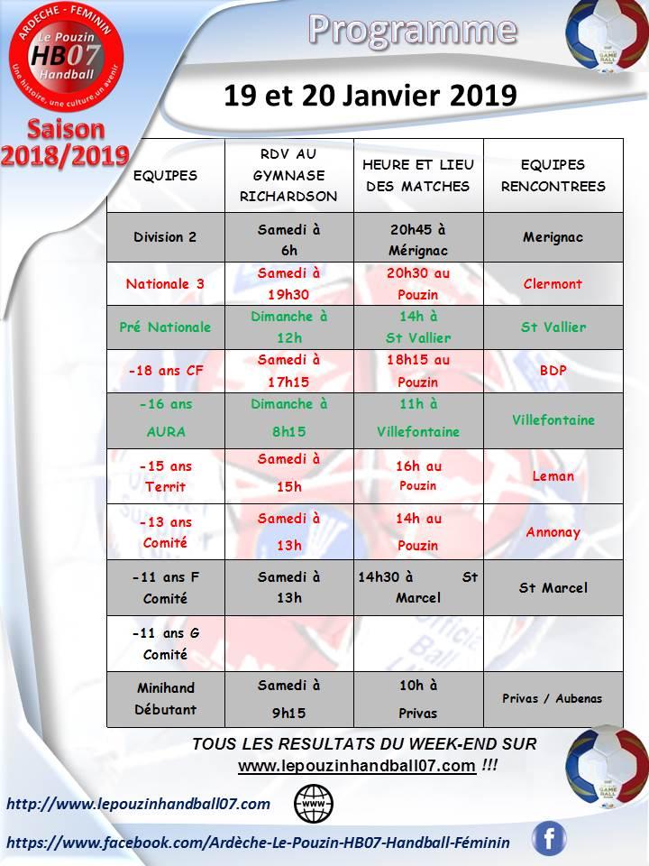 Programme 19 et 20 janvier 2019