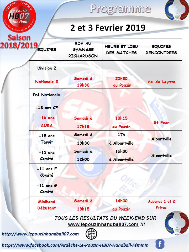 Programme 2 et 3 fevrier 2019