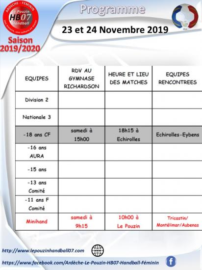 Programme 23 et 24 novembre 2019