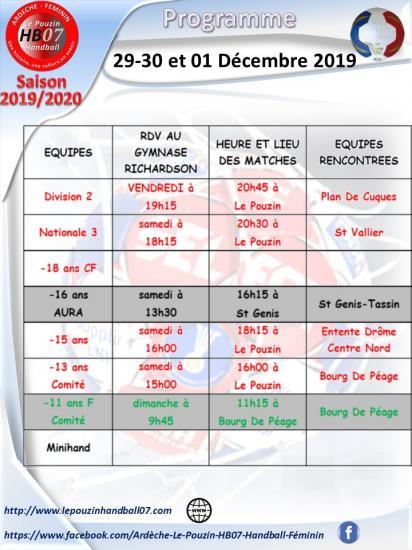 Programme 29 30 et 1 decembre 2019