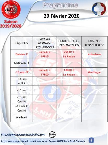 Programme 29 fevrier 2020