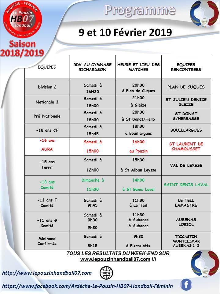 Programme 9 et 10 fevrier 2019