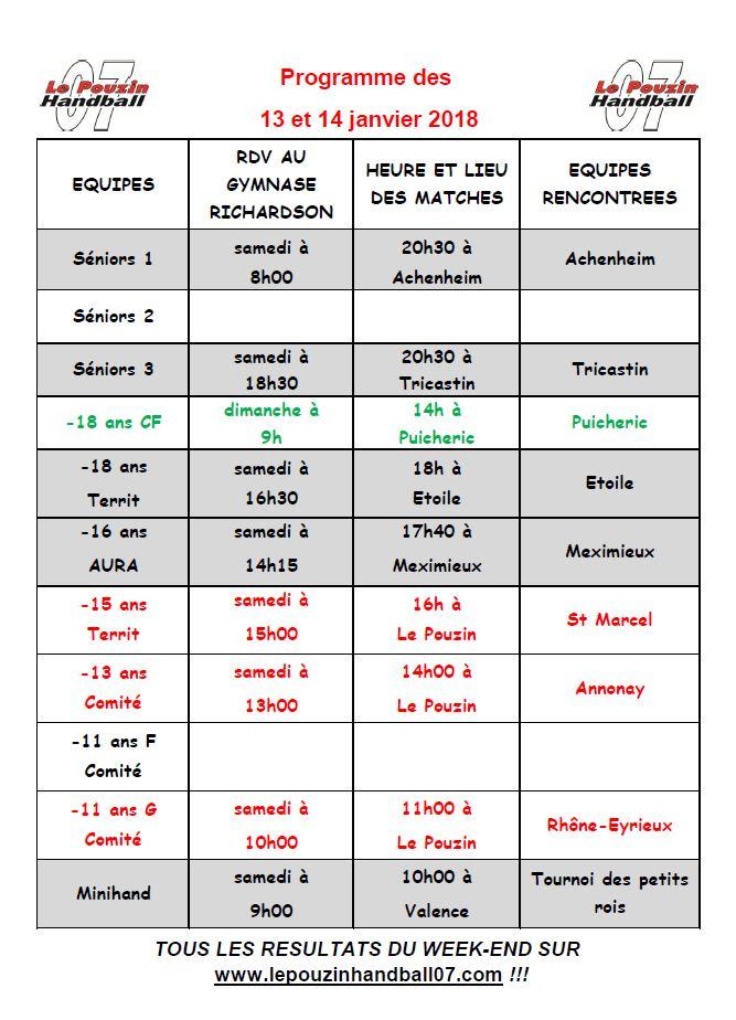 Programme des 13 et 14 janvier 2018