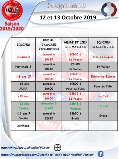 Programme du 12 et 13 octobre 2019