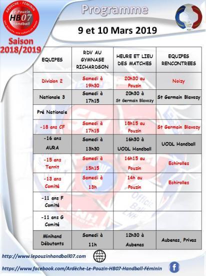 Programme du 9 et 10 mars 2019