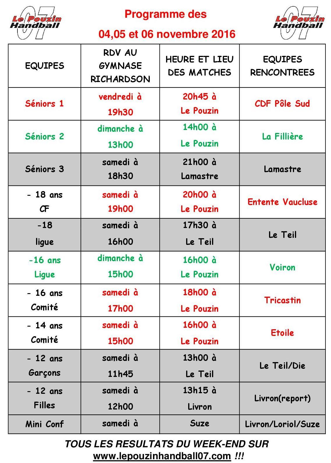 Programme week end 2016 11 05