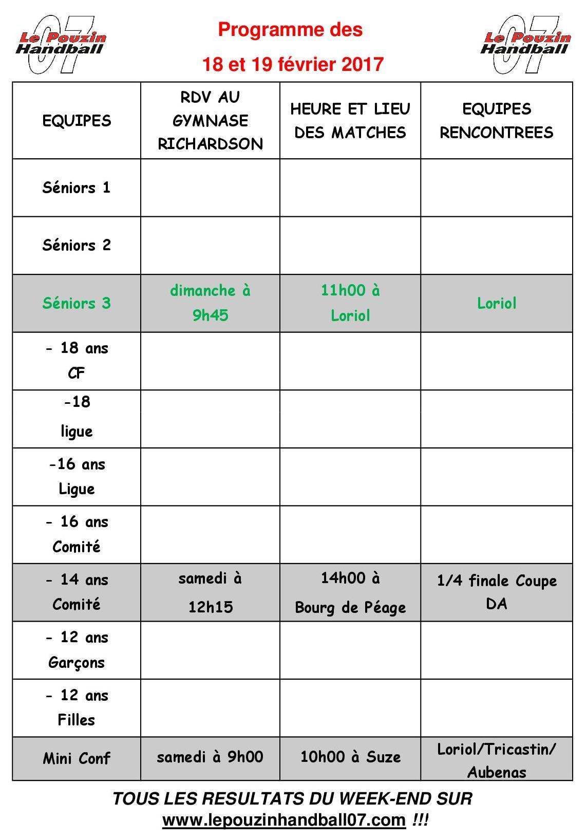 Programme week end 2017 02 18
